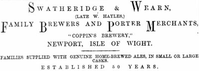 Coppins Brevery advert 1878