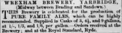 Wrexham Yarbridge brewery advert 1869